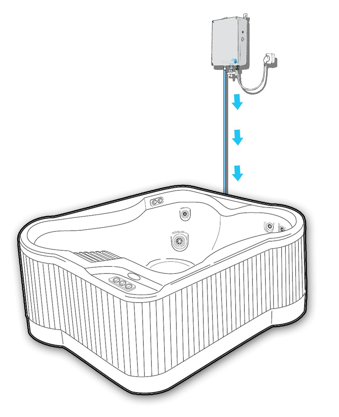 Skisse av boblebad med ozongenerator WaterMaid WM500